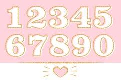 Satz Zahlen: 1,2,3,4,5,6,7,8,9,0 mit goldenem Entwurf Goldfunkeln-Beschaffenheitseffekt vektor abbildung
