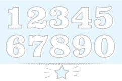 Satz Zahlen: 1,2,3,4,5,6,7,8,9,0 mit silbernem Entwurf Grauer Funkelnbeschaffenheitseffekt stock abbildung