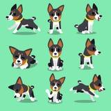Satz Zeichentrickfilm-Figur basenji Hundehaltungen Stockbilder