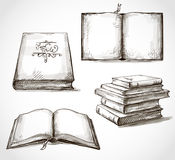 Satz Zeichnungen der alten Bücher Stockfotografie