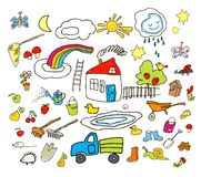 Satz Zeichnungen im Kind mögen Art stock abbildung
