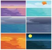 Satz Zeit von Himmel-Meer und Ozean Stockbilder