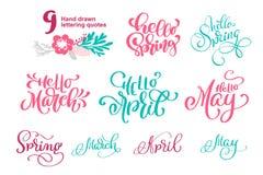 Satz zitiert hallo Frühlingszeit, Marsch, den April kann Hand gezeichnete Kalligraphie und Bürstenstiftbeschriftung Design für Fe Stockfoto