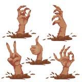 Satz Zombiehände für Halloween-Partei Vektor Stockbilder