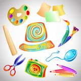 Satz Zubehör und Gegenstände für das Zeichnen Lizenzfreie Abbildung