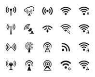Satz zwanzig unterschiedlicher schwarzer Vektor Wi-Fi und drahtlose Ikonen vektor abbildung