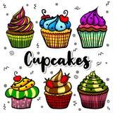 Satzillustrationen der kleinen Kuchen stockbild