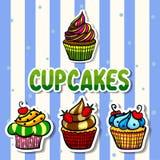 Satzillustrationen der kleinen Kuchen stockfotografie