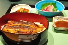 Satzmahlzeit der japanischen Art mit Aal lizenzfreies stockfoto