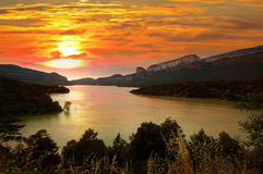 Sau reservoir in sunset Royalty Free Stock Image