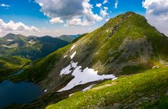 Saua caprei peak of Fagarasan mountains. Gorgeous summer landscape of Southern Carpathians in Romania Stock Photos