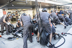 Sauber F1 Team. Mechanics. Testing of replacement wheels. Sochi, Russia -9 November 2014 : Formula One, Russian Grand Prix,  Sochi autodrom , 16 stage Stock Photos
