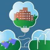 Saubere Energie, Wind und Solarenergie lizenzfreie abbildung