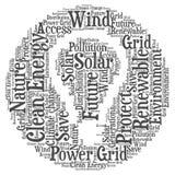 Saubere Energie - Wortwolkenillustration lizenzfreies stockbild
