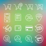 Saubere Ikonen des Vektors stellten für den Inter- Webdesign- und Anwendungsbenutzer ein Lizenzfreies Stockbild