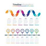 Saubere und bunte Zeitachse Infographics Kreativ, infographic lizenzfreie abbildung