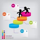 Saubere Zahlfahne des modernen Designs mit dem erfolgreichen Geschäftskonzept verwendet für Websiteplan Infographic Stockfotos