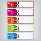Saubere Zahlfahne des modernen Designs mit dem Geschäftskonzept verwendet für Websiteplan Infographic Stockfotografie