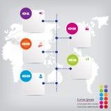 Saubere Zahlfahne des modernen Designs mit dem Geschäftskonzept verwendet für Websiteplan Infographic Lizenzfreie Stockbilder