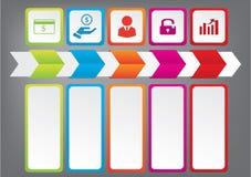 Saubere Zahlfahnen des modernen Designs mit dem Geschäftskonzept verwendet für Websiteplan Infographics Stockfoto