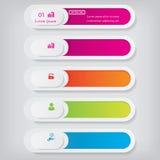 Saubere Zahlfahnen des modernen Designs mit dem Geschäftskonzept verwendet für Websiteplan Infographics Lizenzfreies Stockbild
