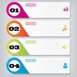 Saubere Zahlfahnen des modernen Designs mit dem Geschäftskonzept verwendet für Websiteplan Infographics Stockfotos