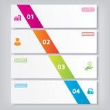 Saubere Zahlfahnen des modernen Designs mit dem Geschäftskonzept verwendet für Websiteplan Infographics Stockbild