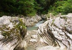 Sauberer Gebirgsfluss des Nebenflusses unter Felsen Stockfoto