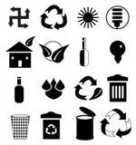 Sauberer Umwelt-Schwarz-Ikonen-Satz Stockfotografie