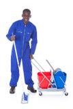 Sauberere Reinigung mit Mopp stockfotografie