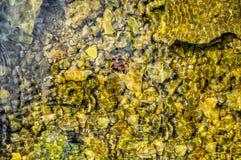 Sauberes Quellwasser auf dem Hintergrund von Steinen stockbilder