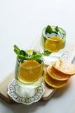 Sauberes Trinkwasser mit Orange und Minze Stockbild