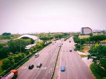 Sauberste Straße in Singapur um Marina Bay lizenzfreie stockbilder