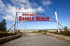 Sauble海滩标志 免版税库存照片