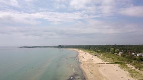 Sauble beach provincial park. Aerial view of the lake Huron. Flying with drone above the Huron lake along the beach stock footage