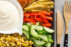 Sauce à mayonnaise et ensemble faits maison de plan rapproché coloré de légumes Photos libres de droits
