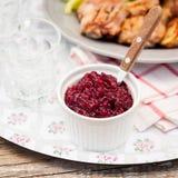 Sauce à oignon rouge de canneberge Photographie stock
