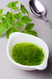 Sauce. Bowl with parsley sauce and a teaspoon Royalty Free Stock Image