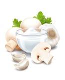 Sauce, champignon and garlic Stock Photos