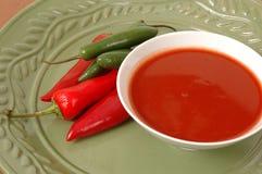Sauce chaude avec des poivrons Photo stock