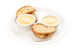 Sauce with cheese and bread Royalty Free Stock Image