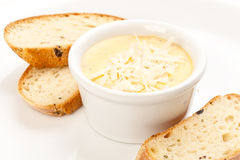 Sauce with cheese and bread. Isolated on white Royalty Free Stock Photos