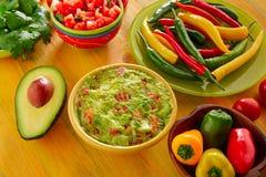 Sauce chili mélangée à nachos de guacamole de nourriture mexicaine photo stock