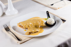 Sauce Covered Dessert Crepes with Ice Cream Royalty Free Stock Image