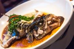 Sauce de soja de poissons, poisson tête de serpent cuit à la vapeur Photos stock