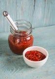 Sauce des piments et des tomates dans une cuvette blanche Images stock