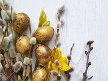 Sauce en un fondo de madera blanco de la decoración natural, alstroemeria de la rama de pascua de los huevos de codornices de la  Foto de archivo libre de regalías