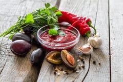 Sauce et ingrédients à Tkemali Photographie stock
