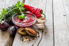 Sauce et ingrédients à Tkemali Images stock