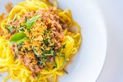 Sauce et porc à spaghetti Photographie stock libre de droits